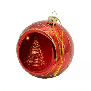Glitter Red Bauble Printed